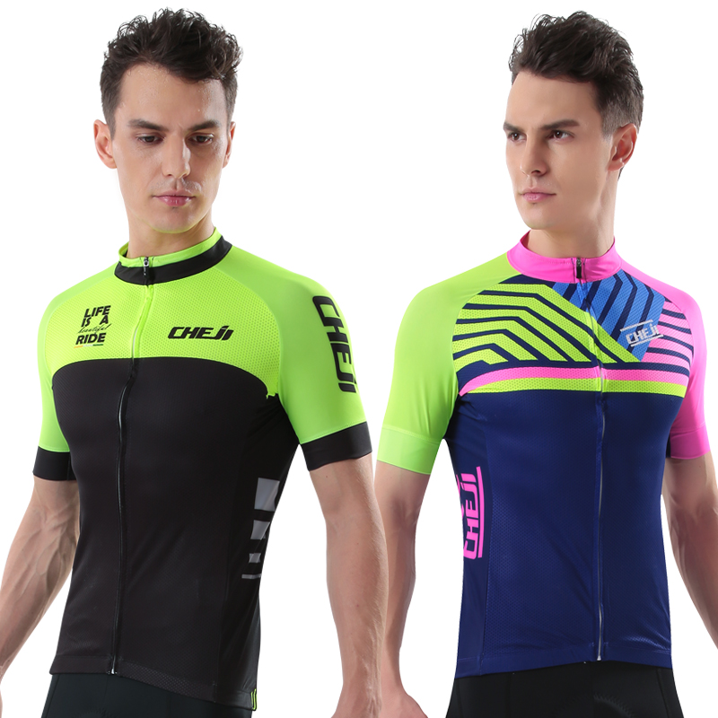 CHEJI Popular Men Cycling Jersey Fluorescent Color Breathable Quick Dry MTB Road Bike Shirts With Zipper Rear Pocket Bike Wear