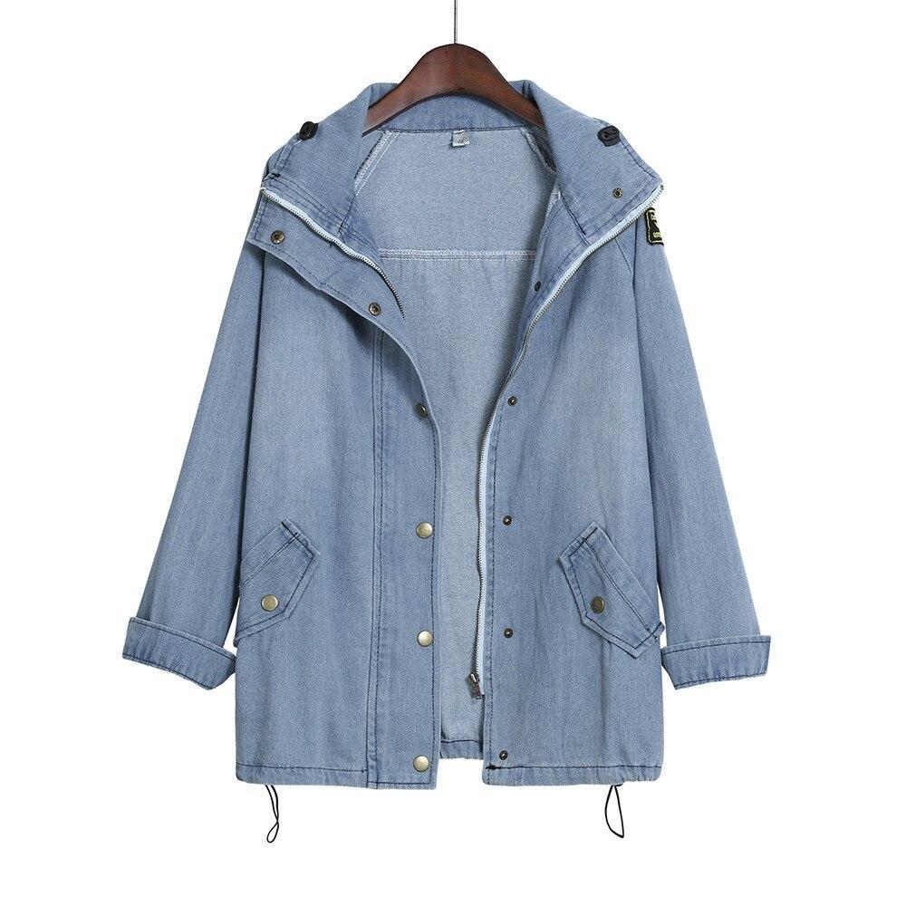 Free Ostrich Denim Jacket Women Jackets Loose Hooded Tops Cowboy Two Denim Jacket Women Coat Plus Size 4XL L1825 2