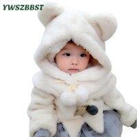 New Fashion Winter Baby Hat With Hood Scarf Cute Bear Ear Ball Warm Plush Kids Baby