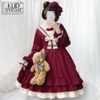 Tea Party Japanese Style Girl Long sleeve Lolita Dress Bowknot JSK Carousel lolita cosplay Lace dress Maid Costume dress 8446