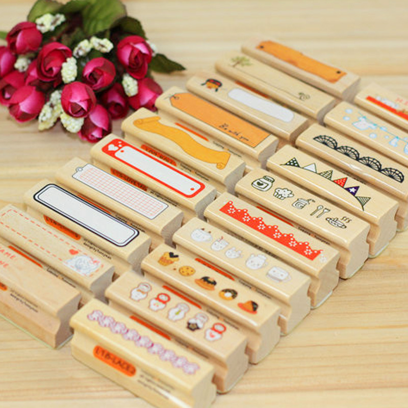 cartoon elongated pattern decoration stamp wooden rubber stamps for scrapbooking DIY craft stationery standard stamp
