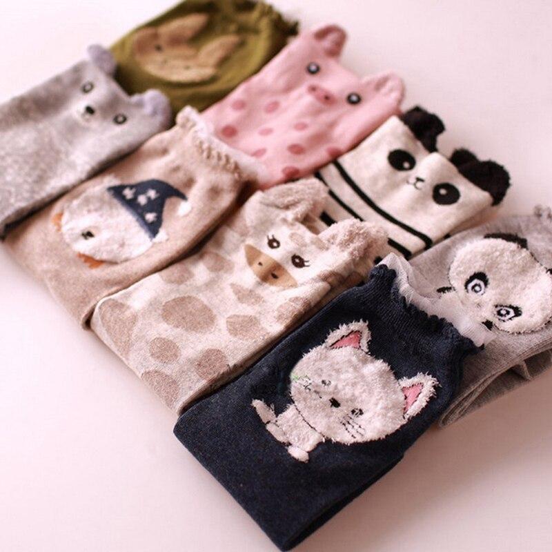Cute 2019 Autumn Winter Women Sock Lovely 3D Ears Animal Women Panda Brear Pig Giraffe Cartoon Socks Cotton Socks For Women