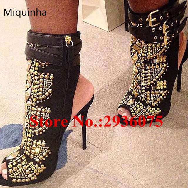 ece8f59b98 Hot Booties Black Suede Leather Gold Studded Embellished Ankle Boots Peep  Toe Belt Buckle Zip High Heels Gladiator Sandals Boots