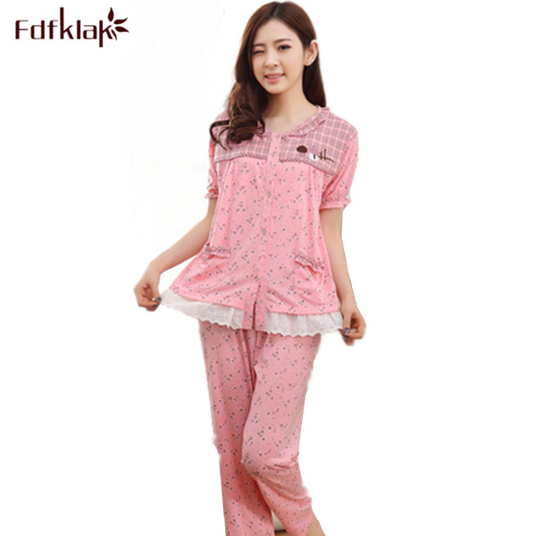9392bee92e M 3XL Spring Summer Print Pyjamas Women Pajama Sets Short Sleeve Pijamas Plus  Size Cotton Pyjama Femme Home Wear Clothes Q200-in Pajama Sets from  Underwear ...