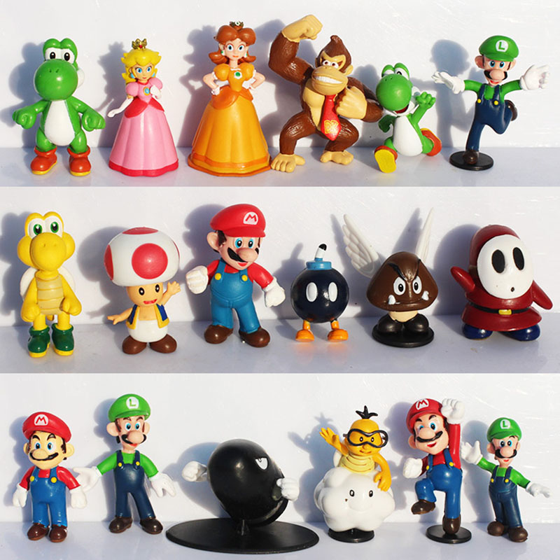18Pcs/Set Super Mario Bros Yoshi Dinosaur Peach Toad Goomba PVC Action Figures Toys 2~6cm Free Shipping