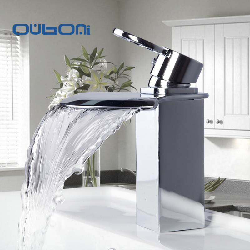 Good Quality Modern Style Big Spout DContemporary Chrome Finish Bathroom Waterfall Basin Sink Mixer Single Handle Faucet