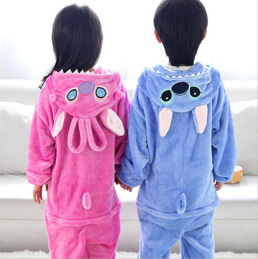 Flannel Stitch Onesie Unisex Adult Blue & Pink Stich Pajamas Cosplay Costume Animal Pyjamas