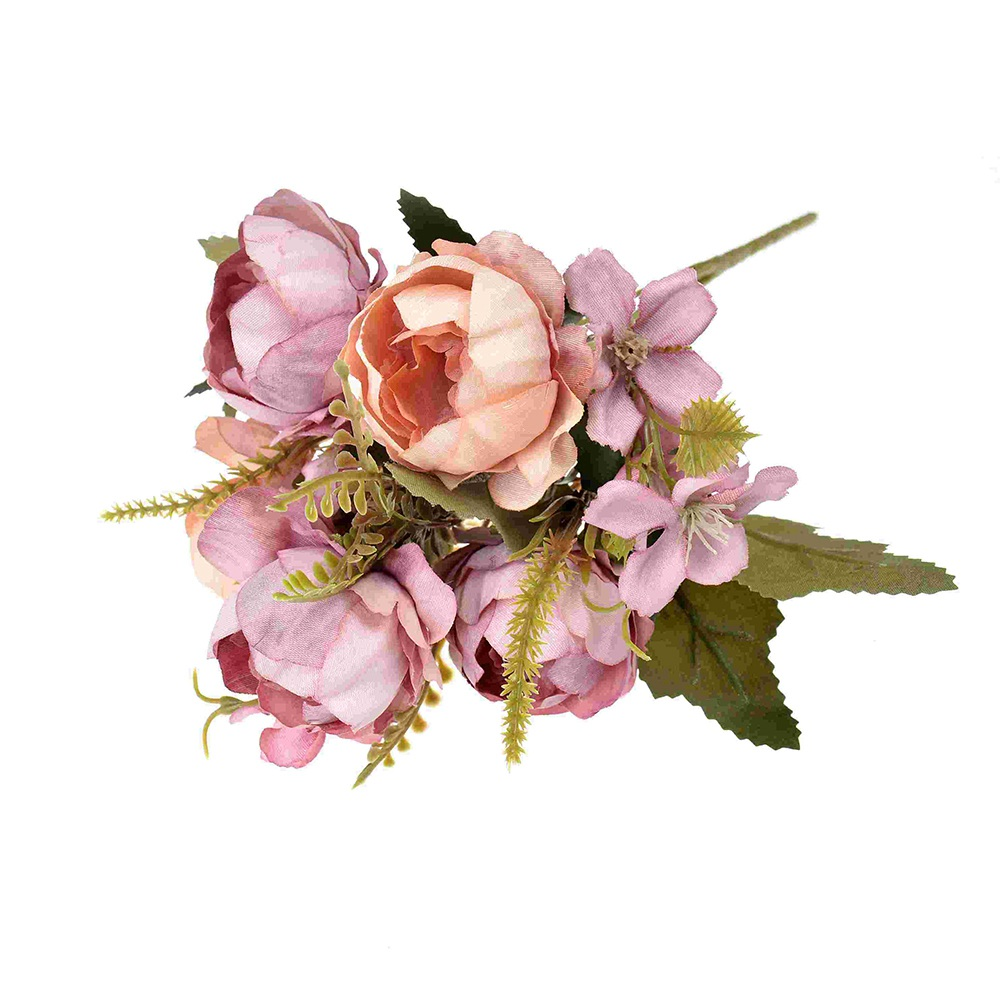 Image 3 - 5head/bouquet Silk Peony Artificial Flowers Wedding Party Home Decoration Rose Fake Flowers Handmade Bridal Wreath Scrapbooking-in Artificial & Dried Flowers from Home & Garden