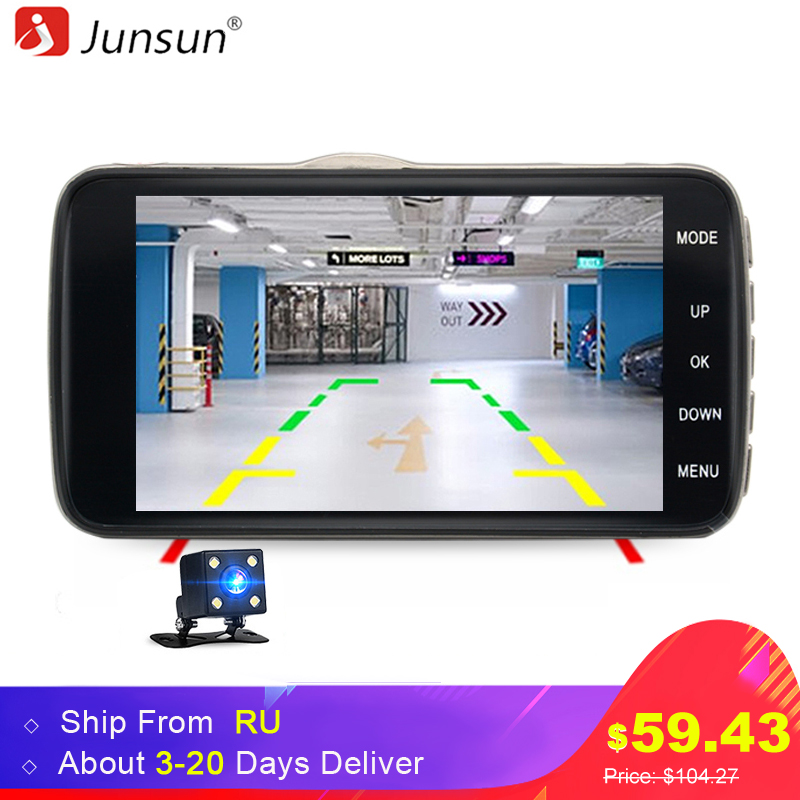 Junsun H7 Car DVR Camera Dual Lens IPS 4 0 Full HD 1296P Video Recorder Registrator