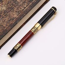 Luxury Metal Ballpoint Pen Imitation Wood Emboss Pattern Rollerball Office School Stationery