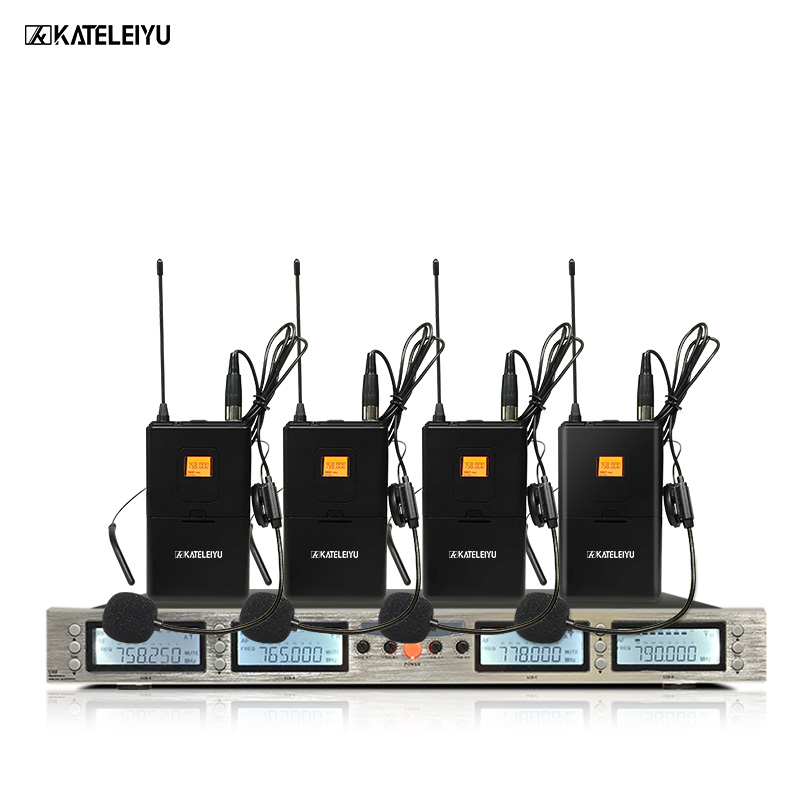 Professional Microphone 200 Channel Optional Frequency 4-Channel Lavalier Wireless Microphone System Stage Home KTV Microphone 2016 new fashion swimwear women sexy neoprene bikini set neoprene swimsuit biquini page 5