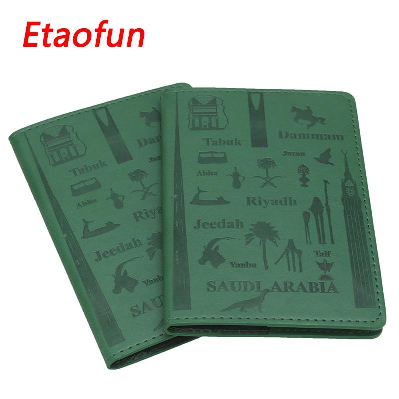 Etaofuin Brand Passport Cover Green Case for Saudi Arabia Travel Documents Business Passports Holder Card Wallet Protector Women
