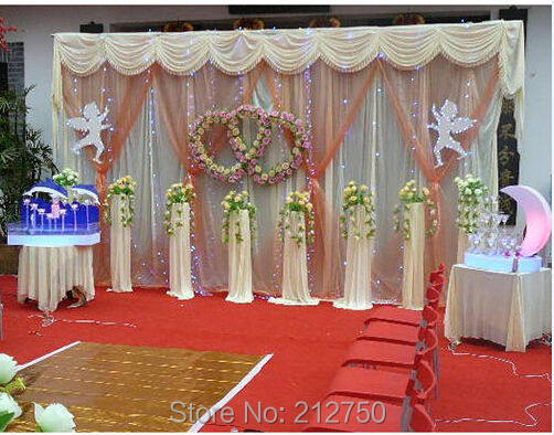 Express Free Shipping Wedding Backdrop Curtain With Snow Yarn Marriage Stage Decoration Color Size Customised