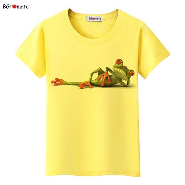 BGtomato Novo!! impertinente Sapo 3D camiseta mulheres originalidade  adorável dos desenhos animados 3D camisas 82aa9c5893