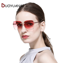 2018 fashion unframed ladys sunglasses will gradually change to the ocean color frame Sun GlassesUV400 with glasses 2668
