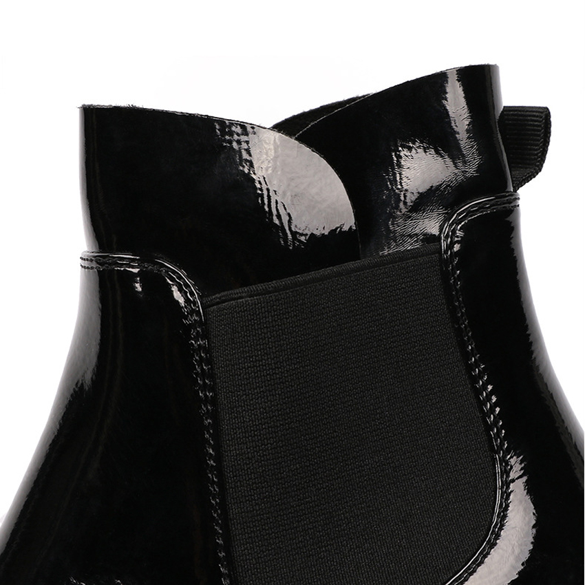 New Fashion Women Boots PU Women Ankle Boots Black Casual Lady Shoes Spring Winter Slip On Female Shoes She ERA in Ankle Boots from Shoes