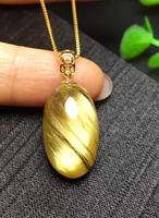 Top Quality Natural Gold Rutilated Quartz Pendant Oval Shape Gemstone Best Gift 21x12x9mm Crystal 18K Gold Bail Necklace AAAAA