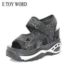 Buy E TOY WORD Women Sandals 2019 Summer platforms Sandals Sequins Casual Women Shoes Fashion Thick Bottom Wedges White Sandals directly from merchant!