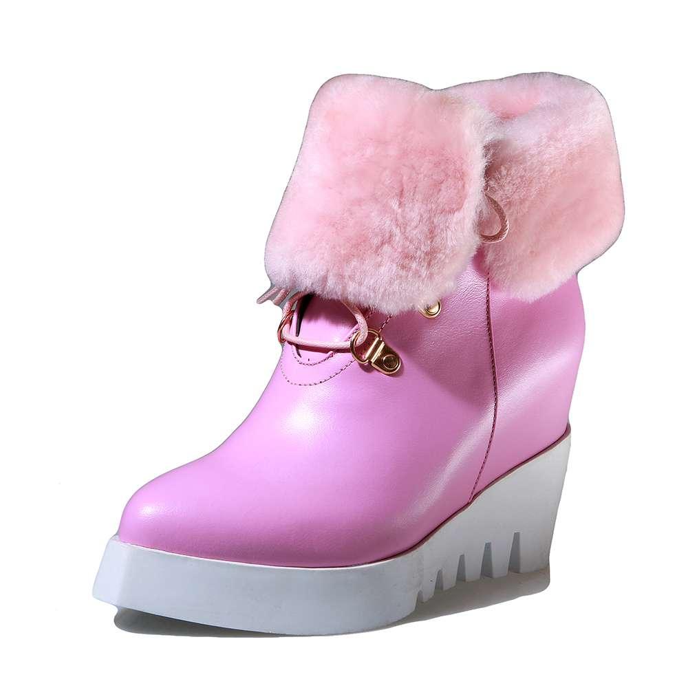Keile Up Sterne Natürliche Plattform Beige Schnee rosa Europäische Winter Leder Streetwear Hohe Film L18 Spitz Stiefel Lace Handgemachte schwarzes Untere qt4f88n