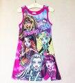 A linha de vestido para meninas vestido colorido dos desenhos animados individualidade crianças e adolescentes x