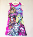 Dress For Girls 2015 Fashion A-Line Colorful Cartoon Dress Casual Individuality Kid&Teens Clothing X10
