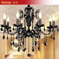 Miglior prezzo nuovo modern luxury lampadario di cristallo nero casa illuminazione lampada di cristallo della candela lustri de cristal pendenti