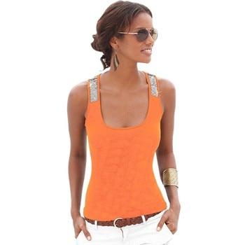 Fashion Women Summer Vest Top Fluorescent Beads Patchwork Sleeveless Blouse Casual Tank Tops T-Shirt RZ0524 Top