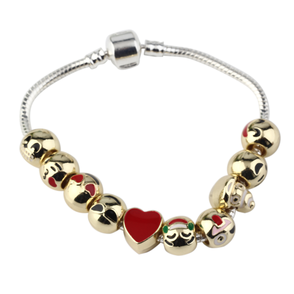 Cute Custom Emoji Charm Bracelets Gold DIY 18/19/ 20cm ...