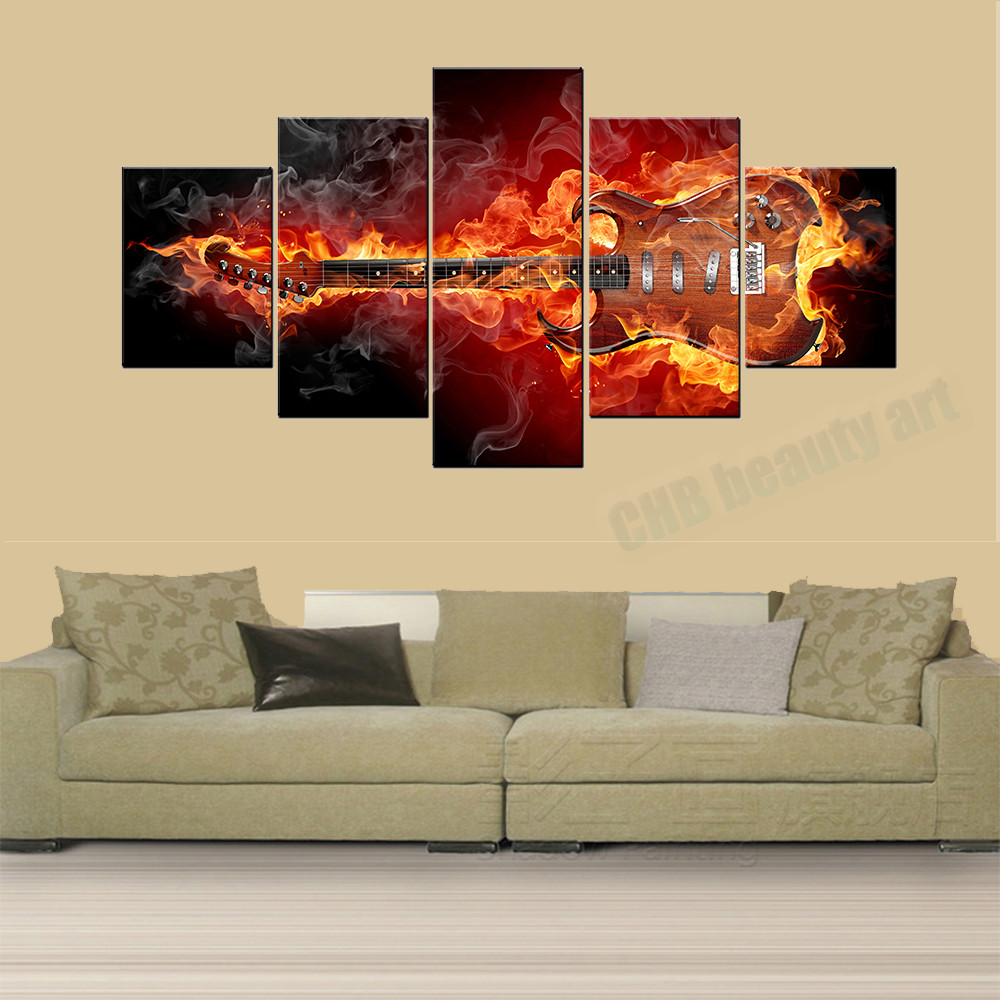 5 Panels Passion Guitar Modern Home Wall Decor Painting Canvas Art ...