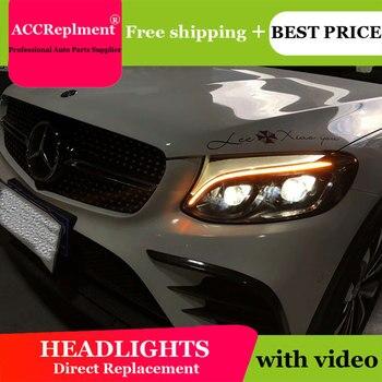 AUTO.PRO For Benz AMG GLC headlight 2016-2019 bi xenon lens ForBenz AMG GLC head lamps H7 parking LED tear light DRL car styling