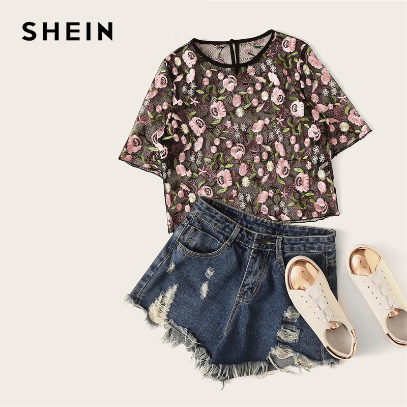 b11616405cb SHEIN Black Floral Embroidered Mesh Crop Top Morden Lady Sexy Round Neck  Short Sleeve