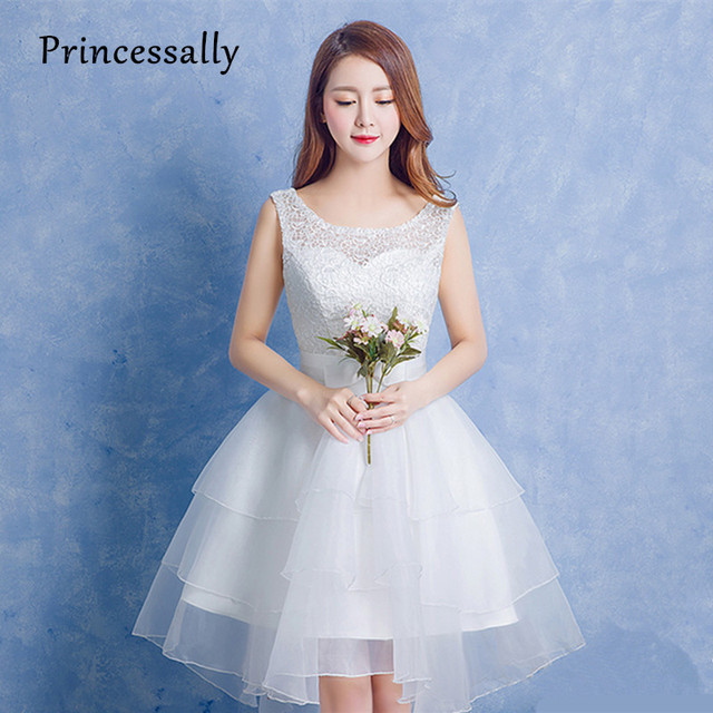3410bdd471e Princessally New White Cocktail Dresses High Low Lace Organza Cheap Short  Front Long Back Graduation Formal Prom Party Dress