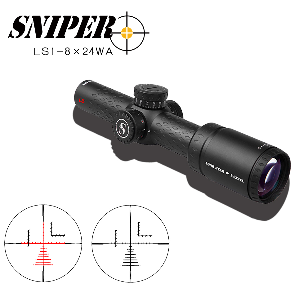 SNIPER 1-8×24L  Riflescope Adjustable  Red Dot Hunting Light Tactical Scope Reticle Optical Rifle Scope Fast Focus