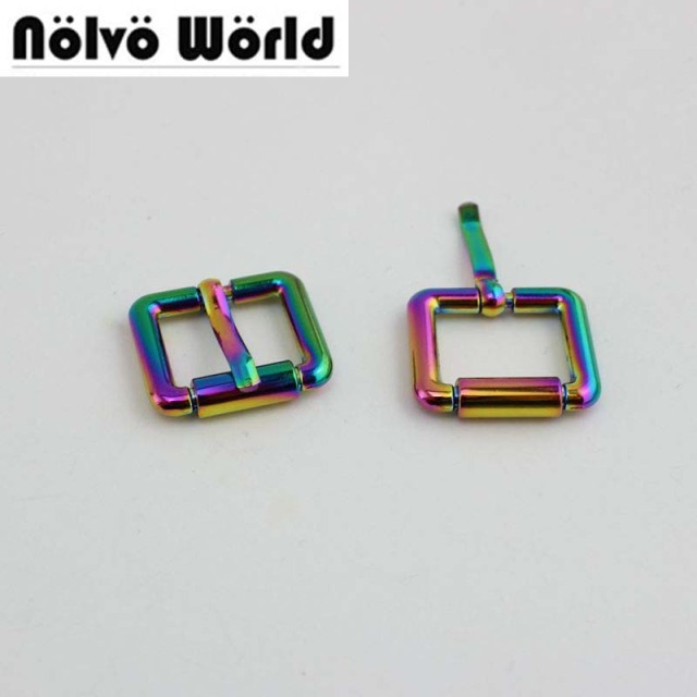 10pcs 50pcs 25mm 19mm Rainbow Polished color turnbuckle zinc alloy square  pin buckle metal bags  973a86991f47