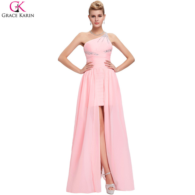 Grace Karin Dress Short Front Long Back High Low One Shoulder Pink Peach Prom Dresses