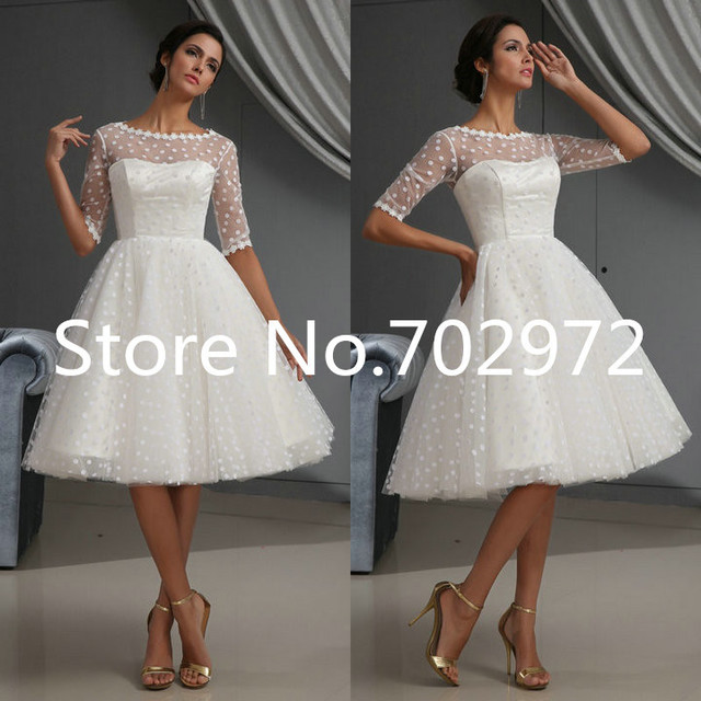 2014 Chic Tulle White Bridal Gown Applique Sheer Best Selling Beach ...