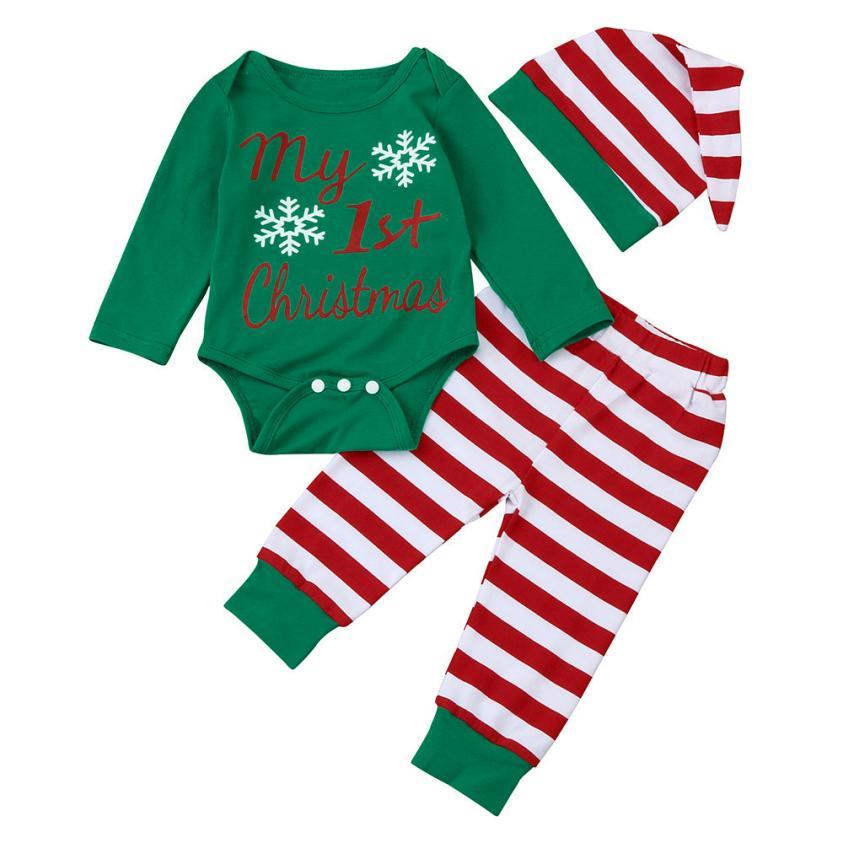 2017 2pcs My First Christmas Newborn Baby Girls Boys Long Sleeve Romper + Striped Pants Cartoon Baby Sets Cotton Clothing 0-18M baby s first christmas cd