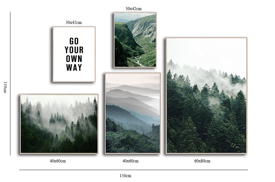 HTB18K3ld3mH3KVjSZKzq6z2OXXaA Mountain Foggy Forest Picture Nature Scenery Scandinavian Poster Nordic Decoration Landscape Print Wall Art Canvas Painting