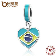 BAMOER 925 Sterling Silver Brazil Heart Flag, Mixed Enamels Pendant Charms fit Women Charm Bracelets Fine Jewelry PAS354(China)