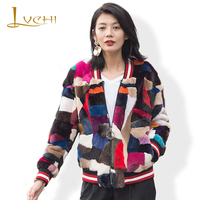 LVCHI women's fur coat Camouflage series winter O Neck Real fur mink coat Natural Genuine furs mink Outerwear 2019 new style