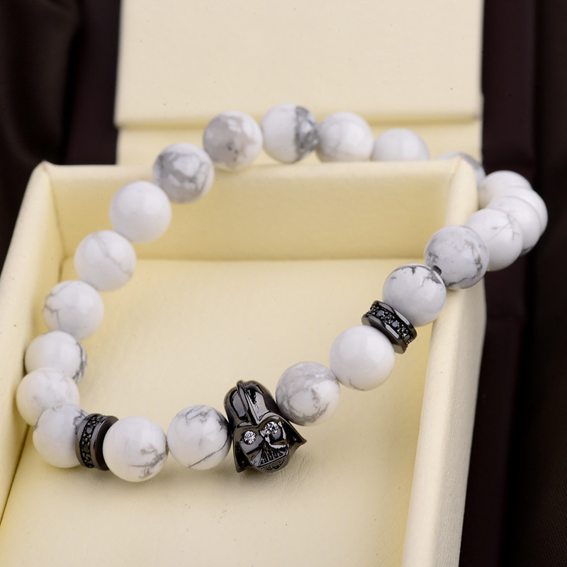 DOUVEI 17 New Charm Mens Star Wars Darth Vader CZ Beaded Bracelets 8mm Bright Black Lava Stone AB1012 9