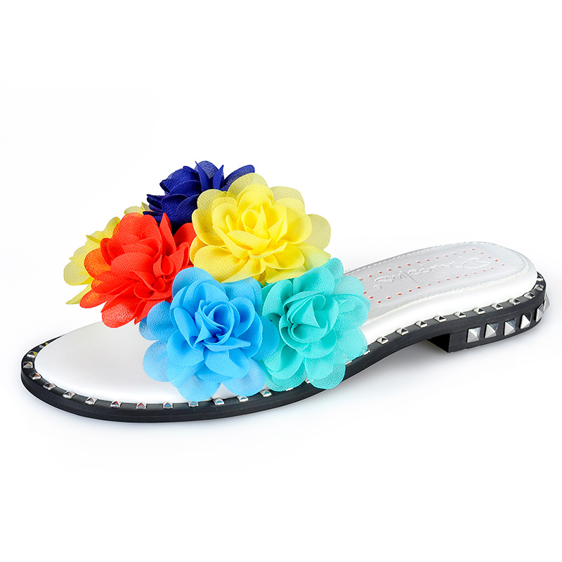 Casual Sommer Appliques Mixed White Feste Mit flops Frauen Hausschuhe Farben Wohnung Rutschen Flip Schuhe Blumen Sinsaut HTv1F1