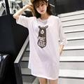 MissLymi M-XL Плюс Размер Женщины футболка 2017 Новый Летний мода Хлопок O-образным Вырезом С Коротким Рукавом Свободные Печати Cute Bear Топ женский
