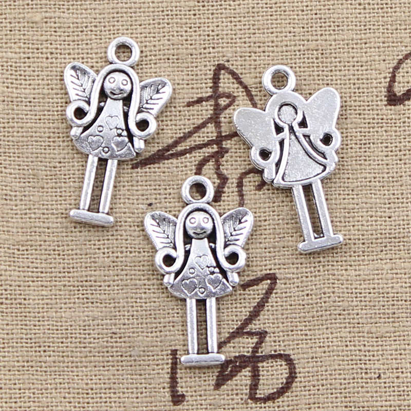 8pcs Charms guardian angel girl 25*14mm Antique Tibetan Silver Pendant Findings Accessories DIY Vintage Choker Necklace