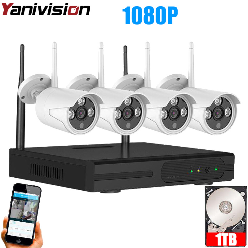 Wireless CCTV System 1080P HD Plug Play 20m Night Vision P2P Outdoor Waterproof Wifi IP Camera
