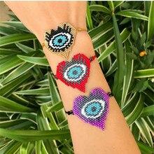 Shinus 10Pcs/lot Miyuki Bracelets Women Evil Eye Bracelet Pulser Turkey Eyes Handmade Heart Beaded for Men