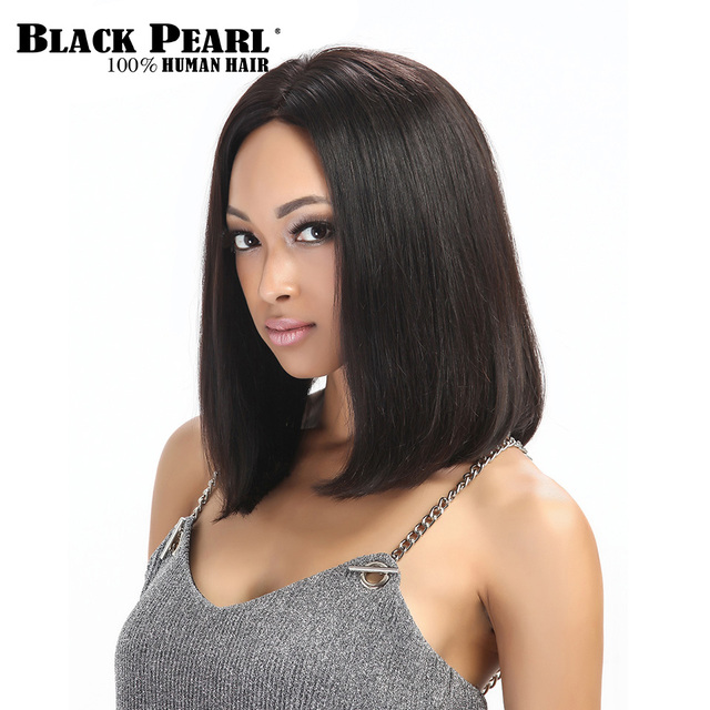 Black Pearl Brazilian Straight Short Wigs Remy Hair Lace Front human Hair  Wigs For Black Women Short Black Bob Wig Cospaly Party 9d6c82c420a3