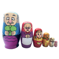 6pcs Set Wooden Matryoshka Set Russian Dolls Baby Toy Nesting Dolls Hand Painted Home Decoration Birthday