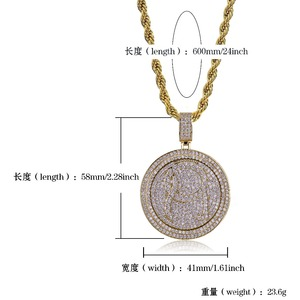 Image 5 - TOPGRILLZ QC Spinner mektup kolye kolye buzlu Out Hip Hop/Punk altın gümüş renk zincirleri CZ uğurlu takı hediye