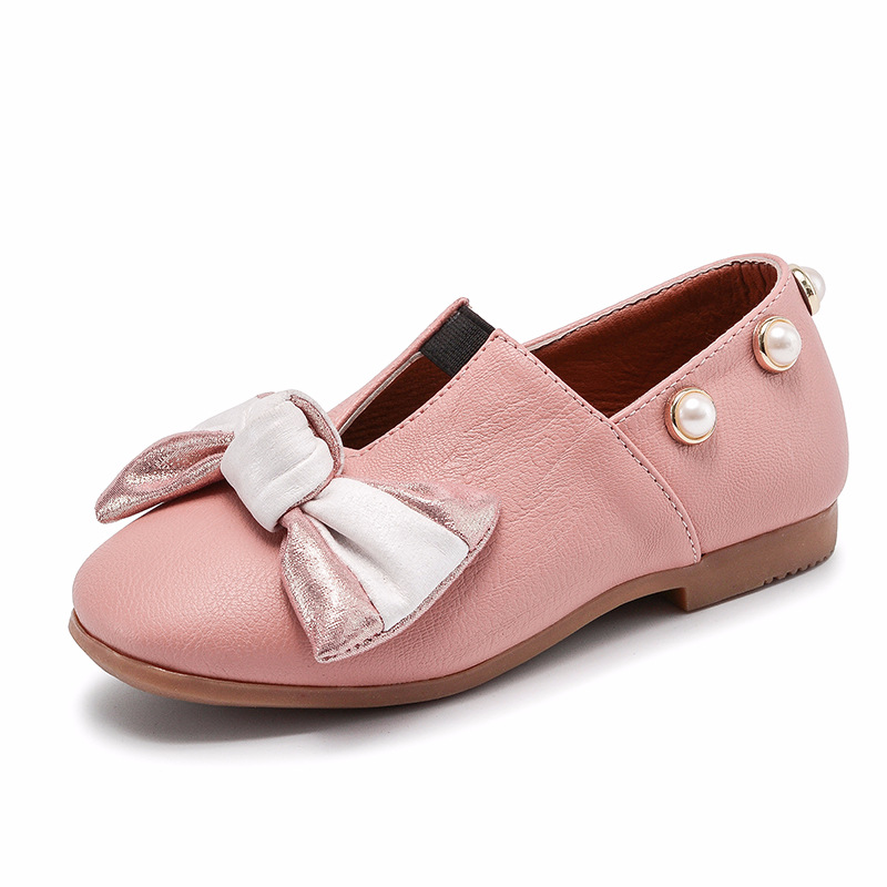 2018 New Spring Children Shoes Bow Flats Leather Fashion Girl Casual Shoes Pearl Single Shoes Kids Sneakers Princess Shoes